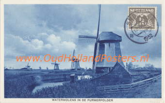 Old Dutch windmills on Old Holland Posters